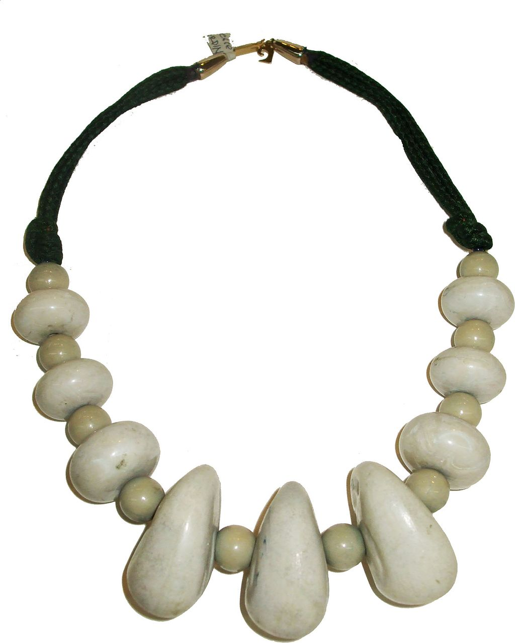 PIERRE CARDIN 1960s Flintstone's Cave Man Modernist Clay Bead and Rope Necklace