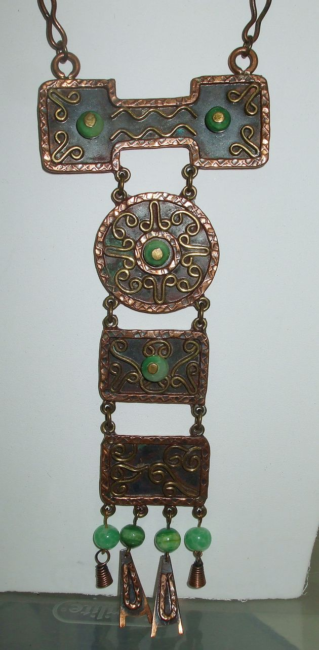 MEXICO Mixed Metal and Bead Ethnic Modernist Pendant Necklace