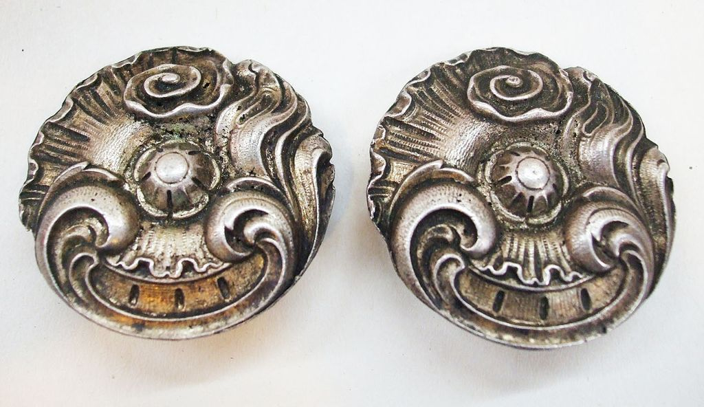 1970s Pewter Look Metal Earrings with Gothic Look