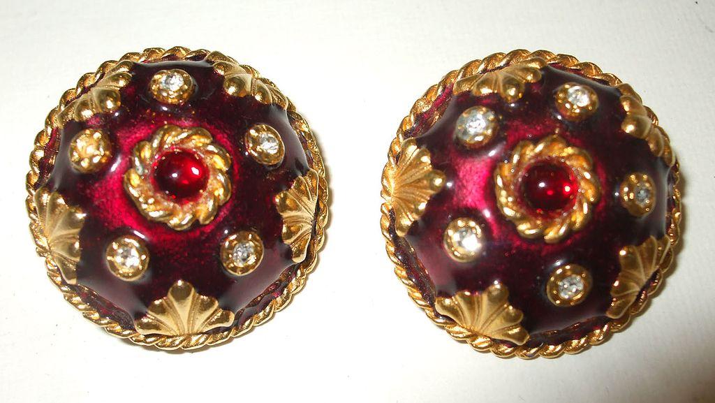 YOSCA Deep Dark Plum Enameled Earrings with Rhinestones