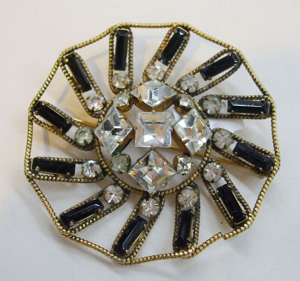 FREIRICH Baguette, Square and Round Rhinestone Brooch from