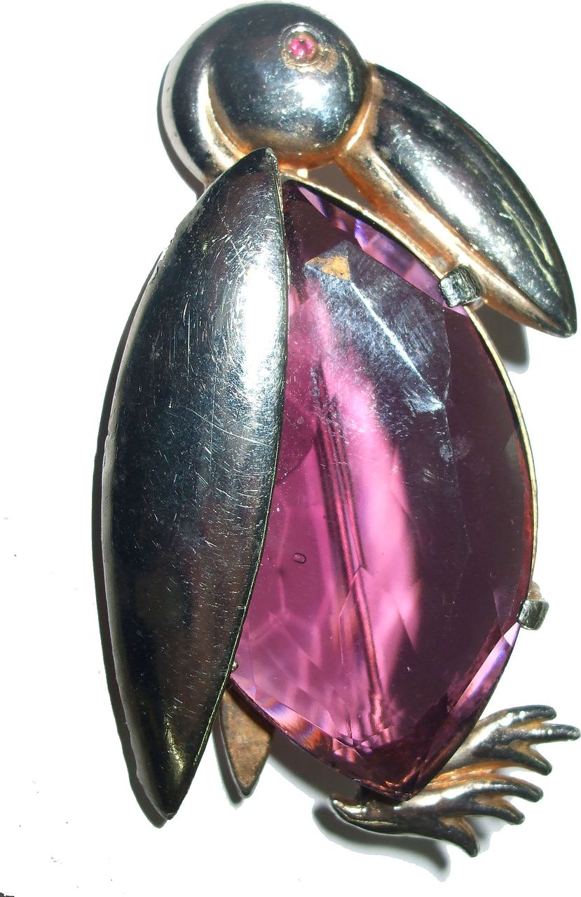 Giant Faceted Purple Stoned Penguin Brooch