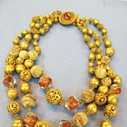 HOBE Brass Filigree, Artglass, and Mottled Bead Older Necklace