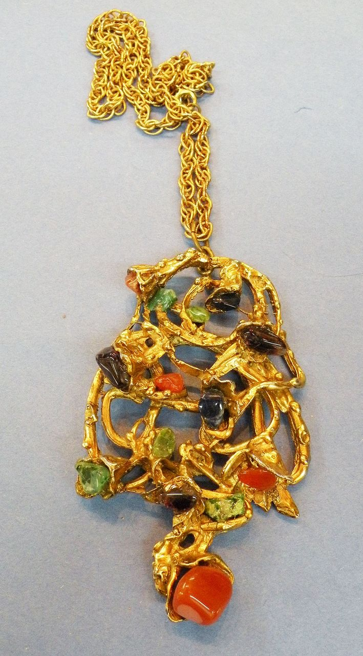 Humongous Sculptural Modernist Freeform Pendant Necklace with Multi Colored Stones
