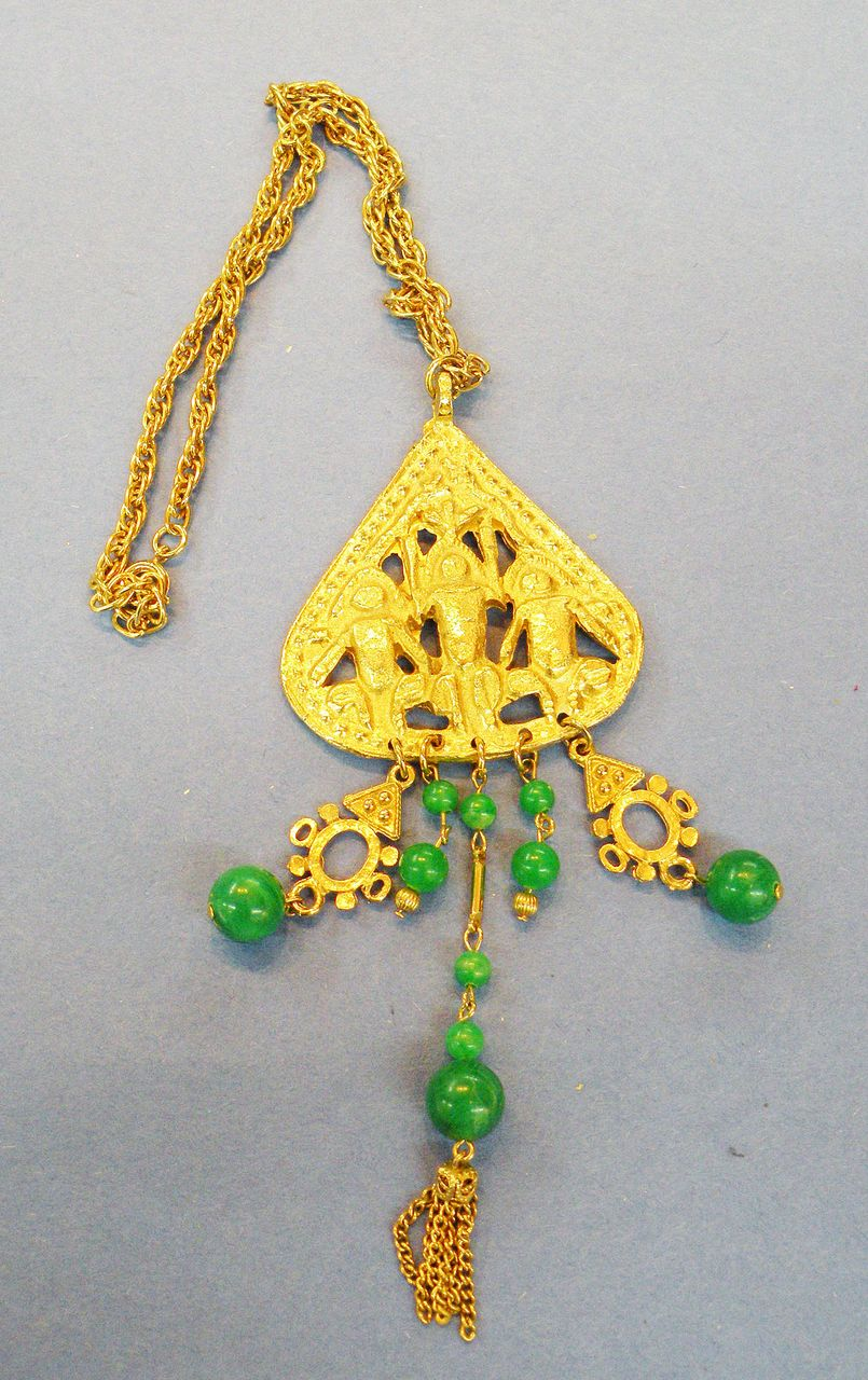 ART Aztec Inspired Pendant Necklace with Green Dangles