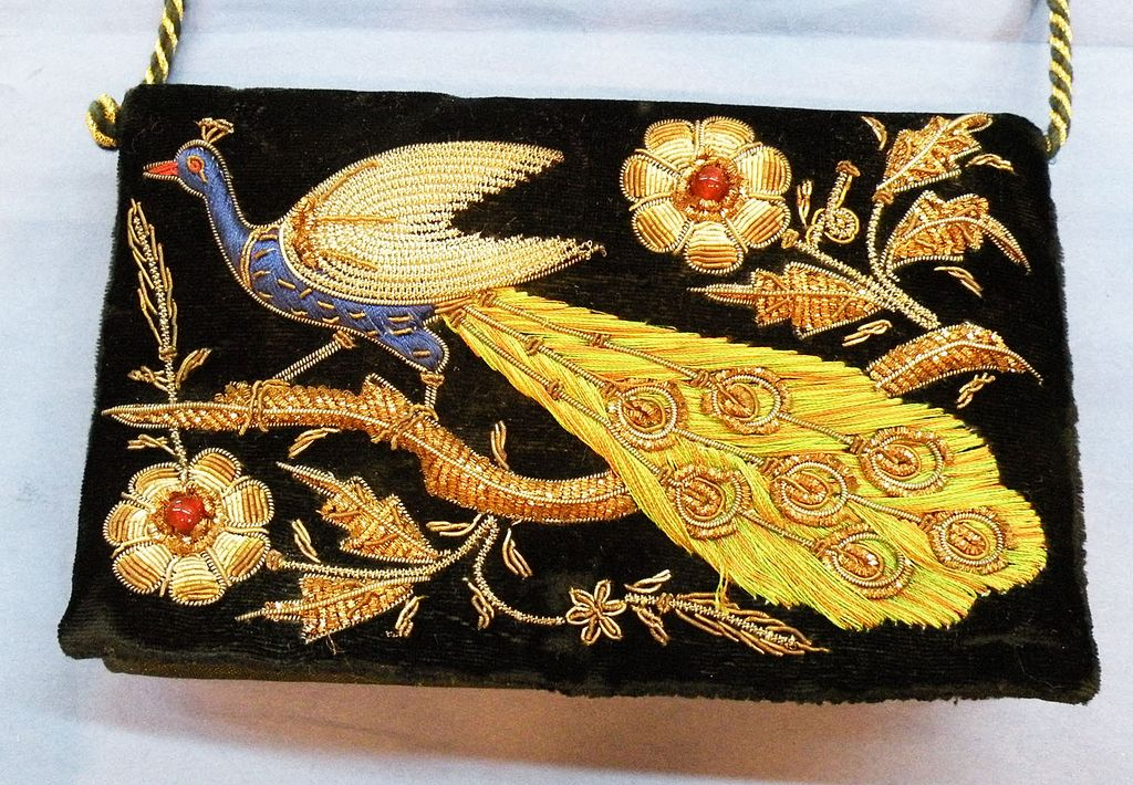 Embroidered and Beaded Velvet Peacock Evening Purse