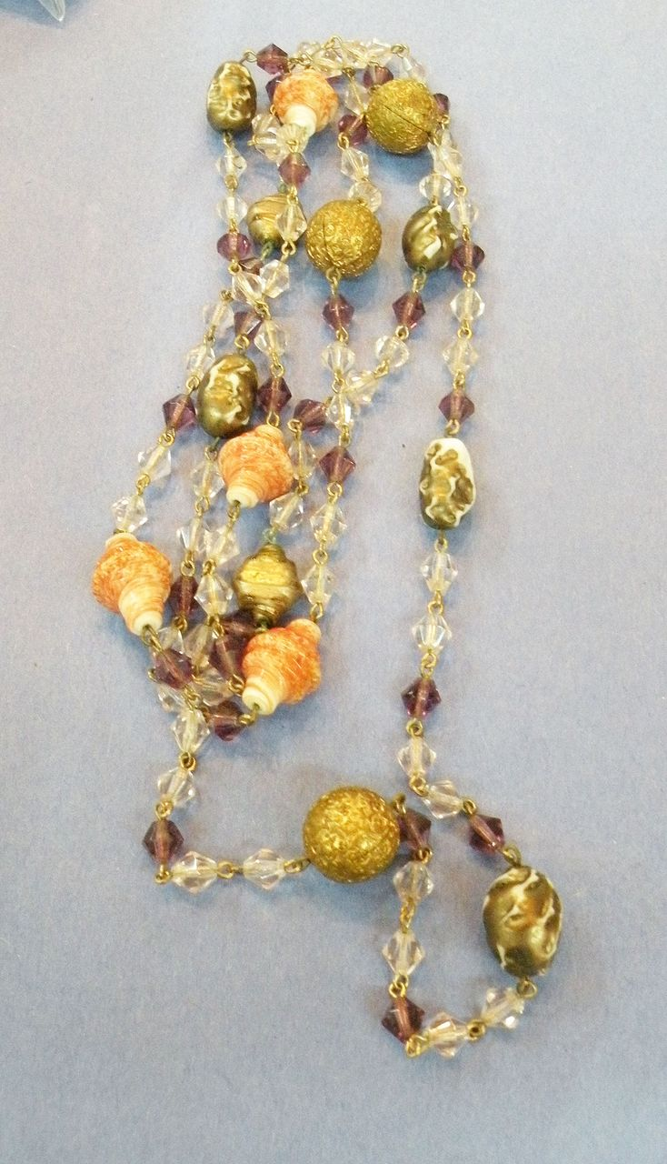 Gorgeous Older Art Glass, Brass and Crystal Sautoir Necklace
