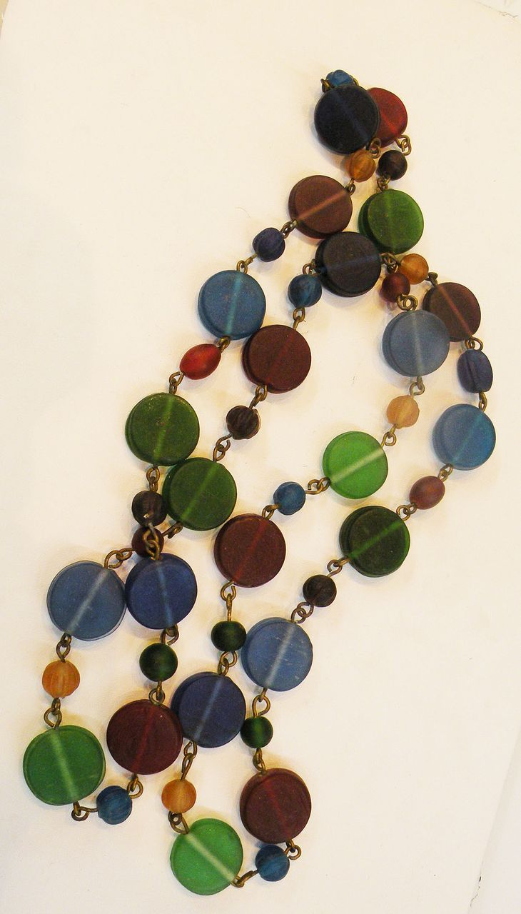 Multi Brightly Colored Frosted Glass Chiclet Sautoir Necklace