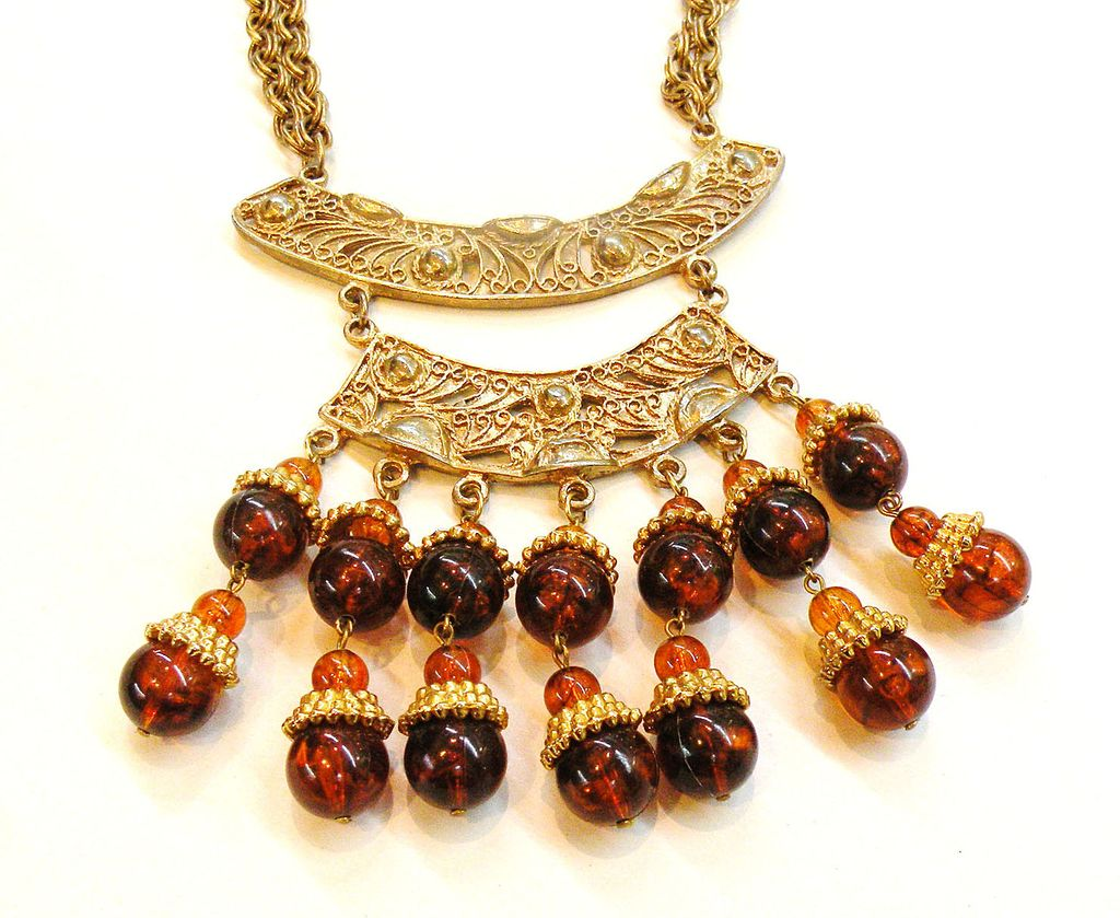 Giant Layered Etruscan Ethnic Dangling Pendant Necklace with Tortoise Colored Lucite Beads