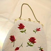 Red Rose Embroidered and Ivory Colored Beaded Purse with Enameled Handle and Snake Chain