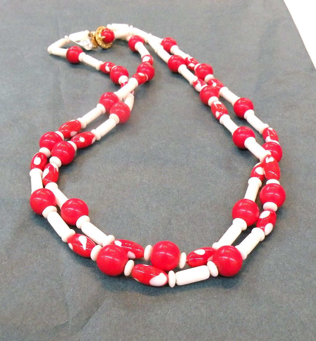 Red and White Glass Bead Double Strand Necklace