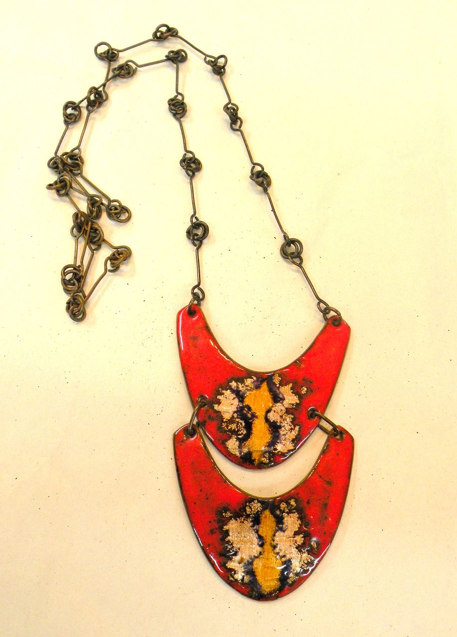 Studio Copper Enamel Red Yellow and Black Boomerang Pendant Necklace