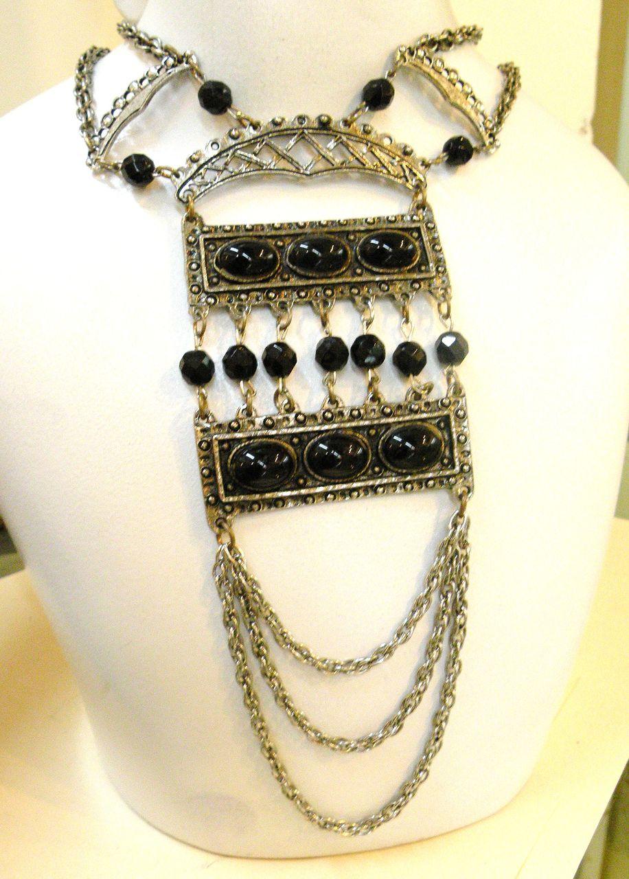 Huge Black Cabochon and Bead Festoon Pendant Necklace