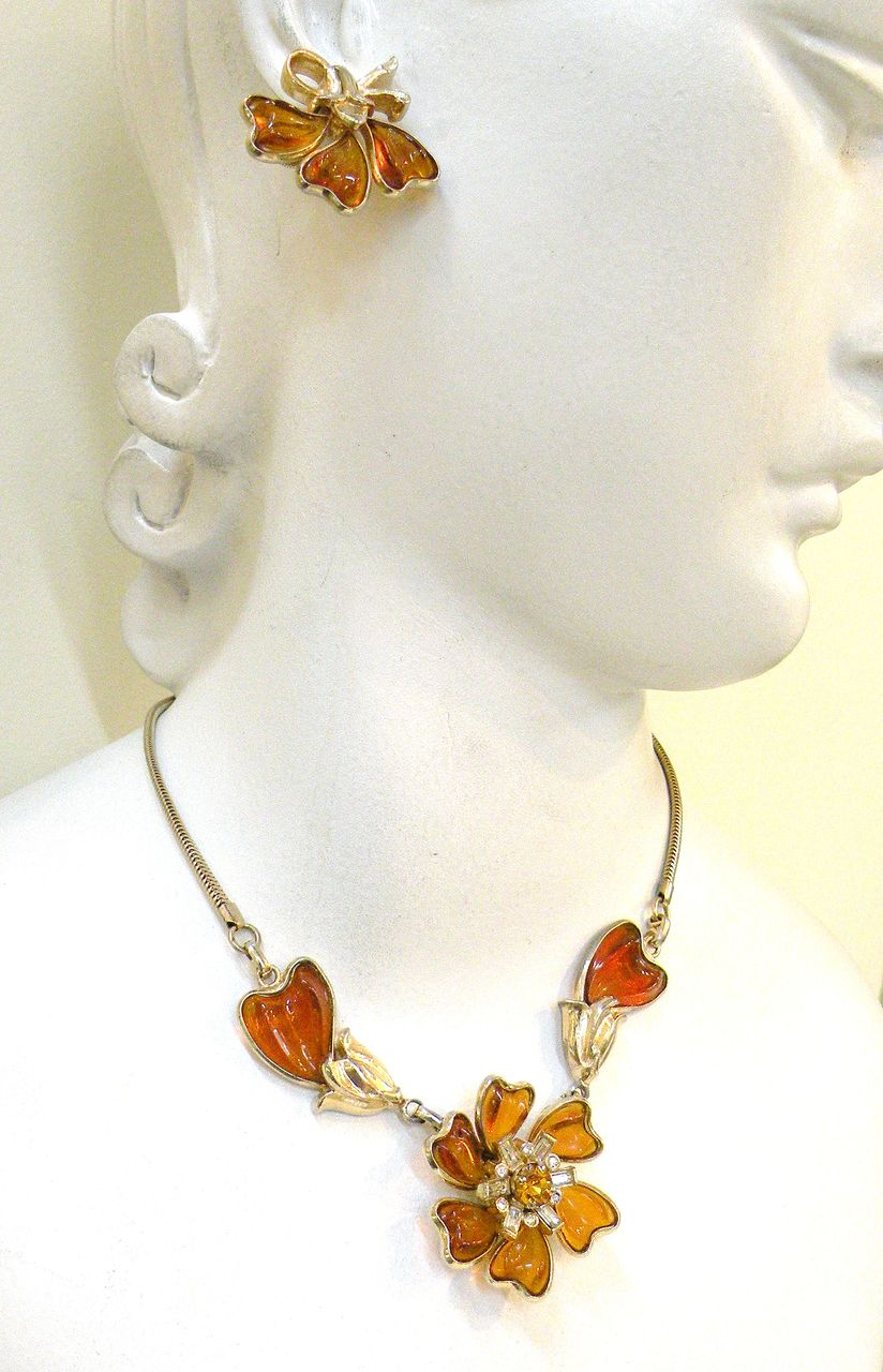 BARCLAY Poured Amber Colored and Clear Rhinestone Necklace and Bracelet Set