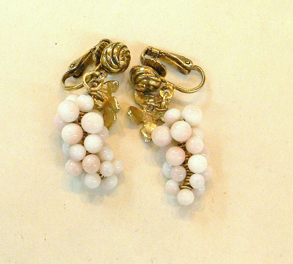Pale Pink Grape Cluster Early Spring Back Clip Earrings
