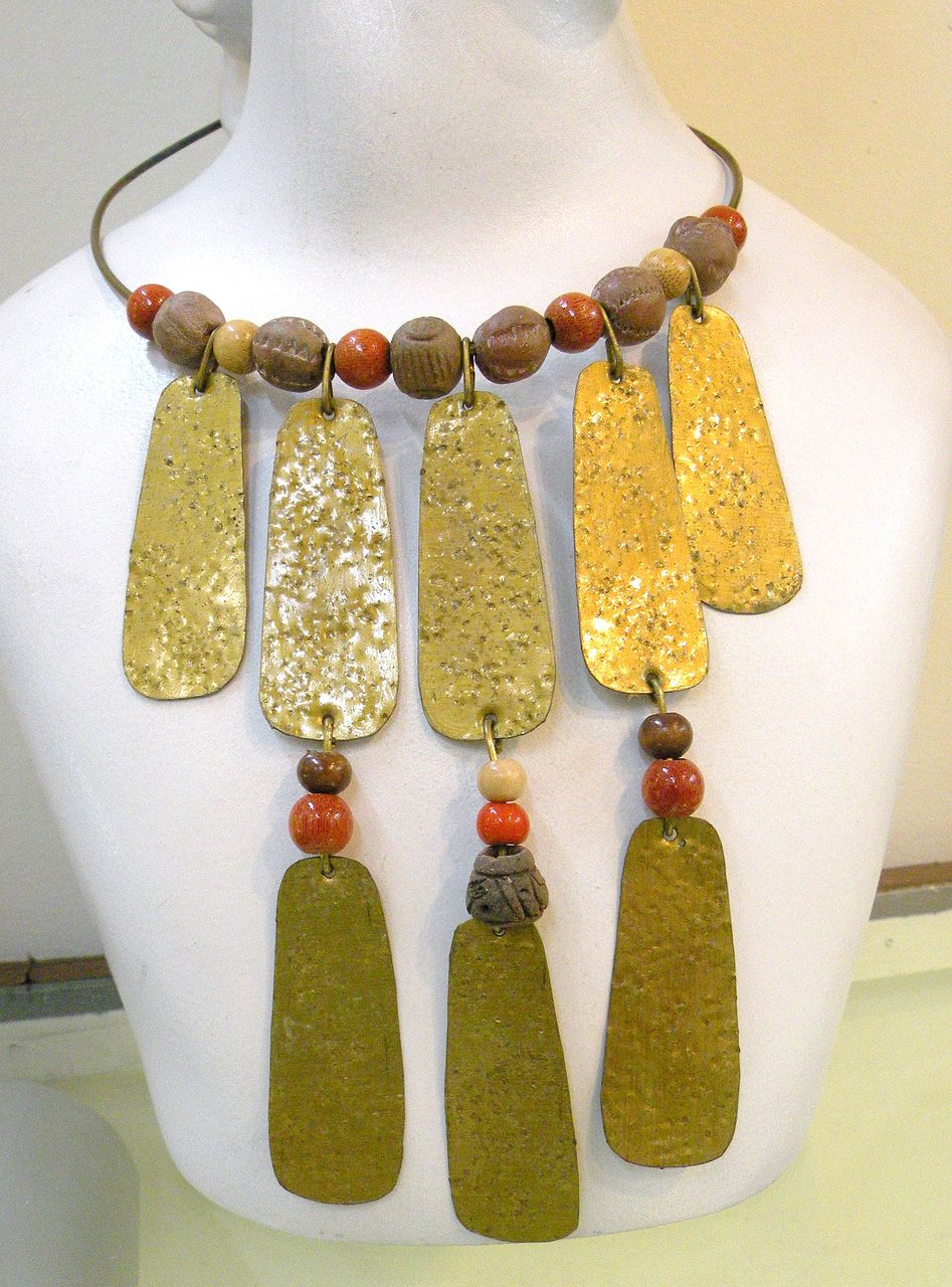 1970s Cher Inspired Ethnic Dangling Bead and Metal Necklace