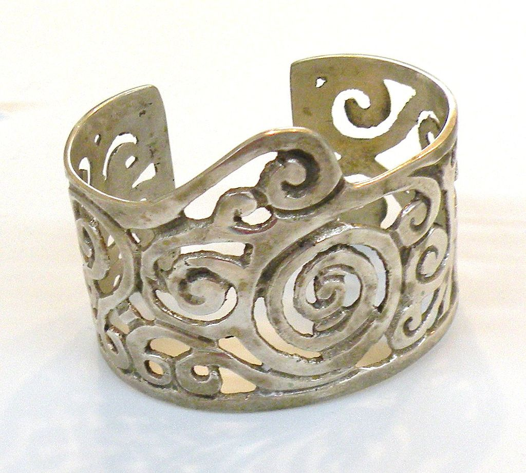 Nickle Silver Swirl Design Modernist Cuff Bracelet