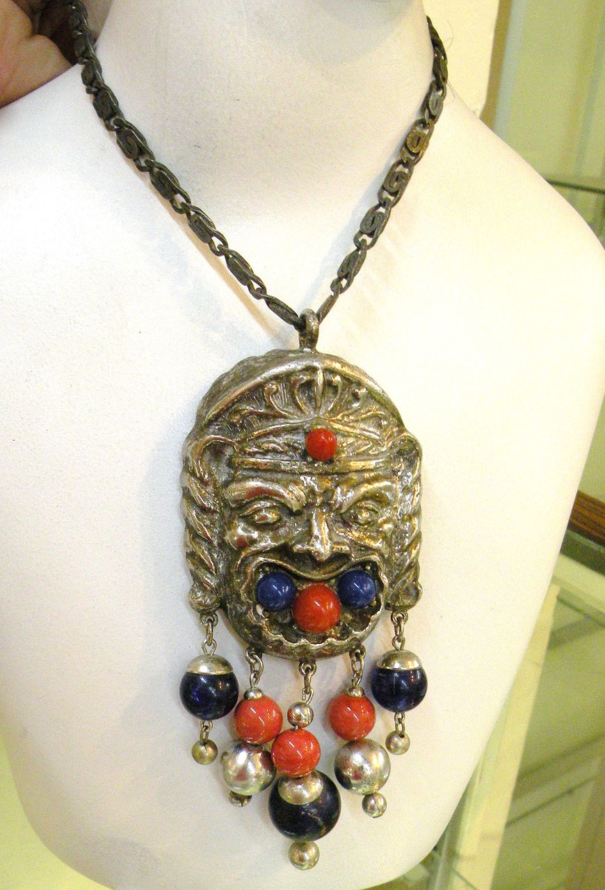 Vintage Fierce Warrior Looking Pendant Necklace with Beads