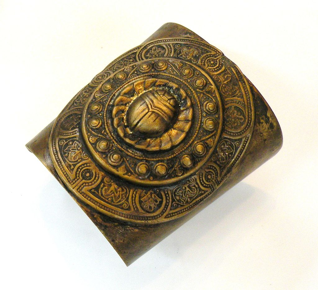 Wide Byzantine Bronze Egyptian Revival Scarab Cuff