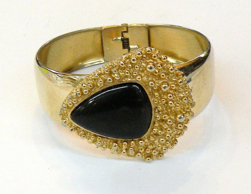 NAPIER Organic Textured Abstract Modernist Clamper Cuff Bracelet