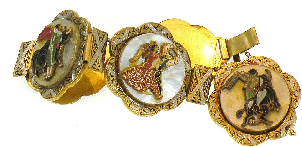 Unusual Damascene Toreador and Flamenco Dancer Mother of Pearl Bracelet