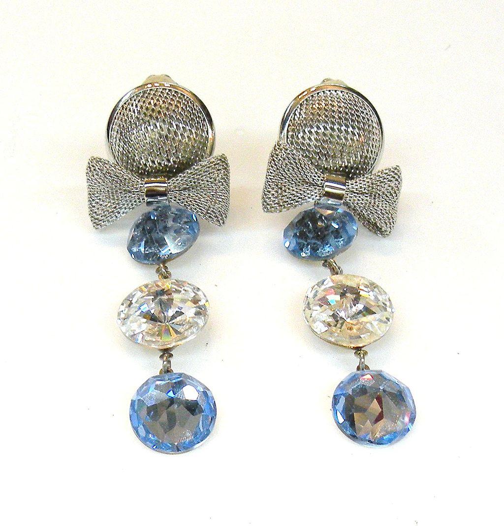 Mesh Bow and Rhinestone Drop Earrings