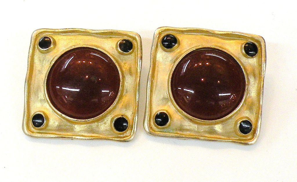 Square Carnelian Colored Cabochon Earrings with Black Accent Stones