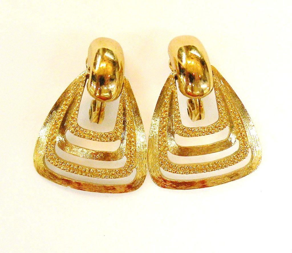 MONET Lever Back Pyramid Earrings