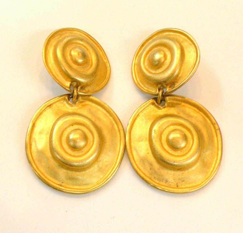 Etruscan Matte Finish Double Disc Earrings