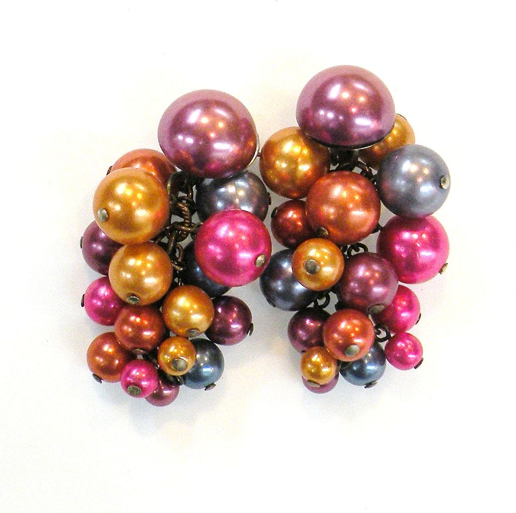 Summer Berry Colored Dangling Ball Earrings