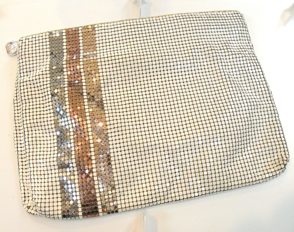 WHITING AND DAVIS 1985 Metallic Stripe and White Clutch Hand Bag
