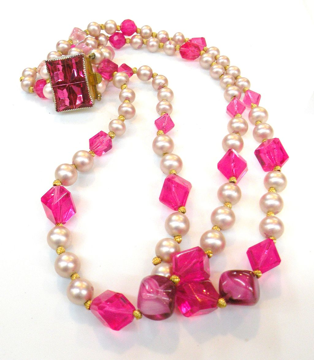 HATTIE CARNEGIE Shades of Pink Beaded Double Strand Necklace