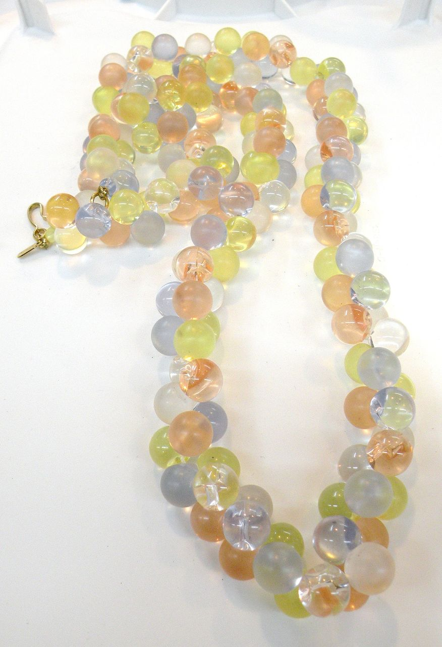 MONET Clear and Frosted Long Bubble Necklace
