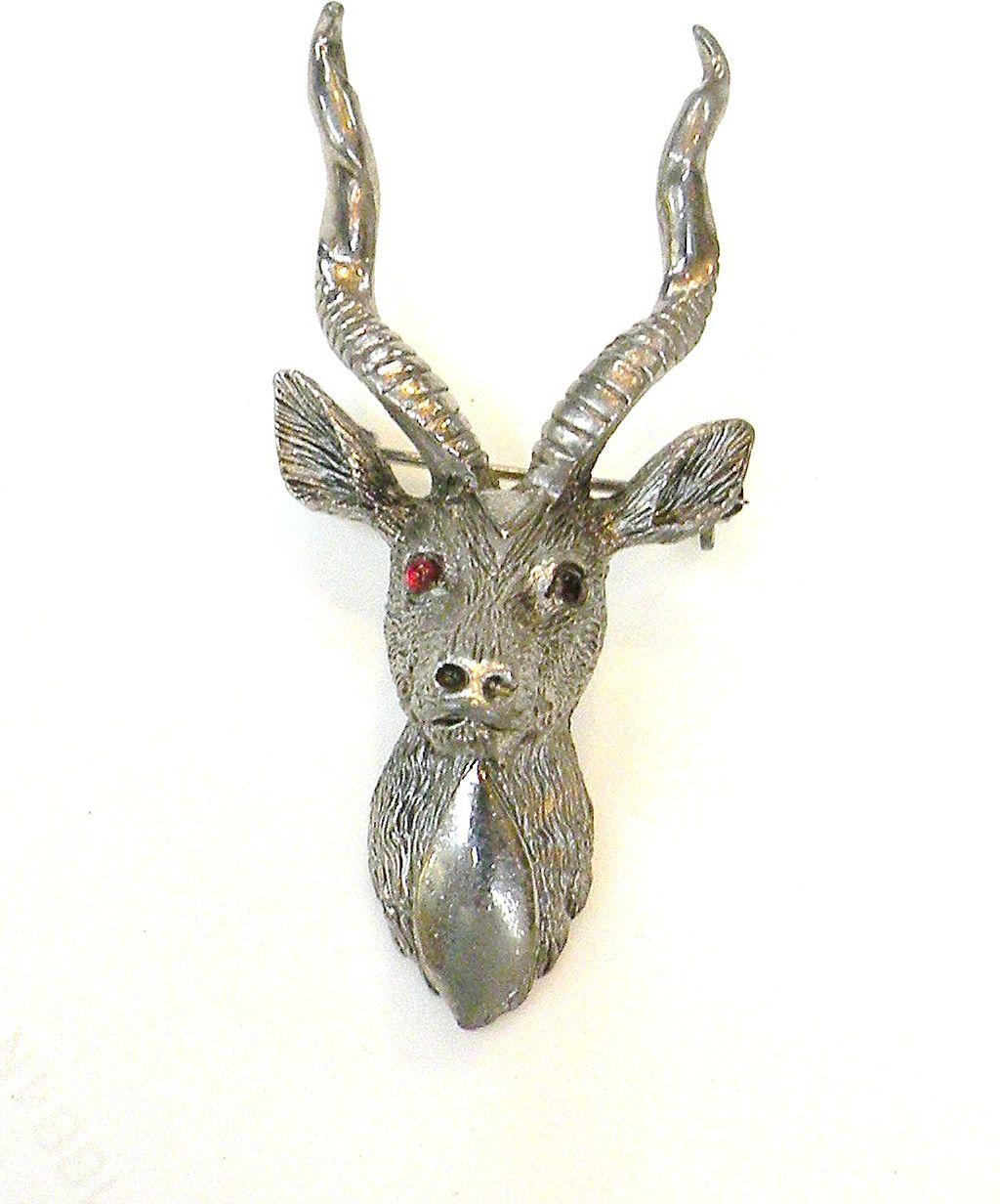 HATTIE CARNEGIE Red Eyed Antlered Reindeer Brooch