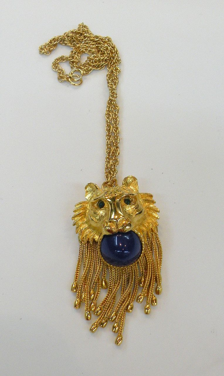 Circus Lion Pendant Necklace with Blue Ball, Green Rhinestone Eyes and Tassles