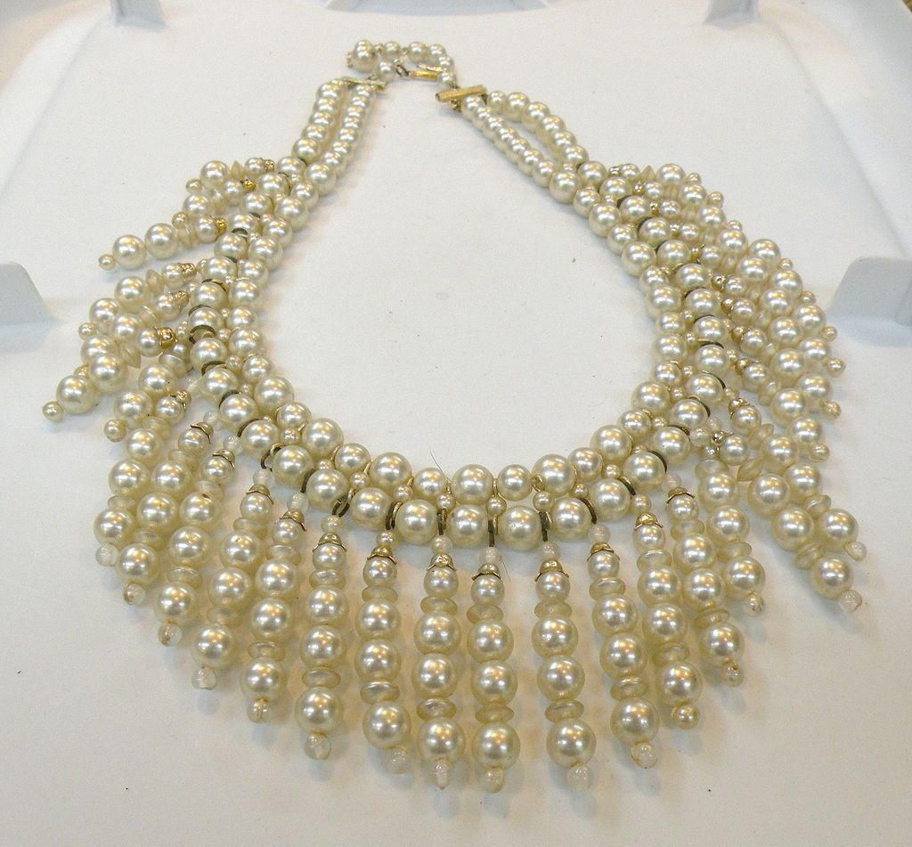 Imitation Pearl Double Strand Draping Bib Necklace