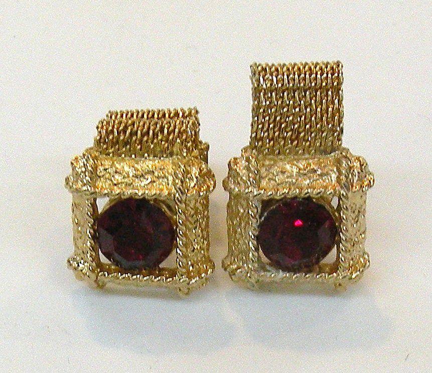 Ruby Colored Rhinestone Fabulous French Cuff Links