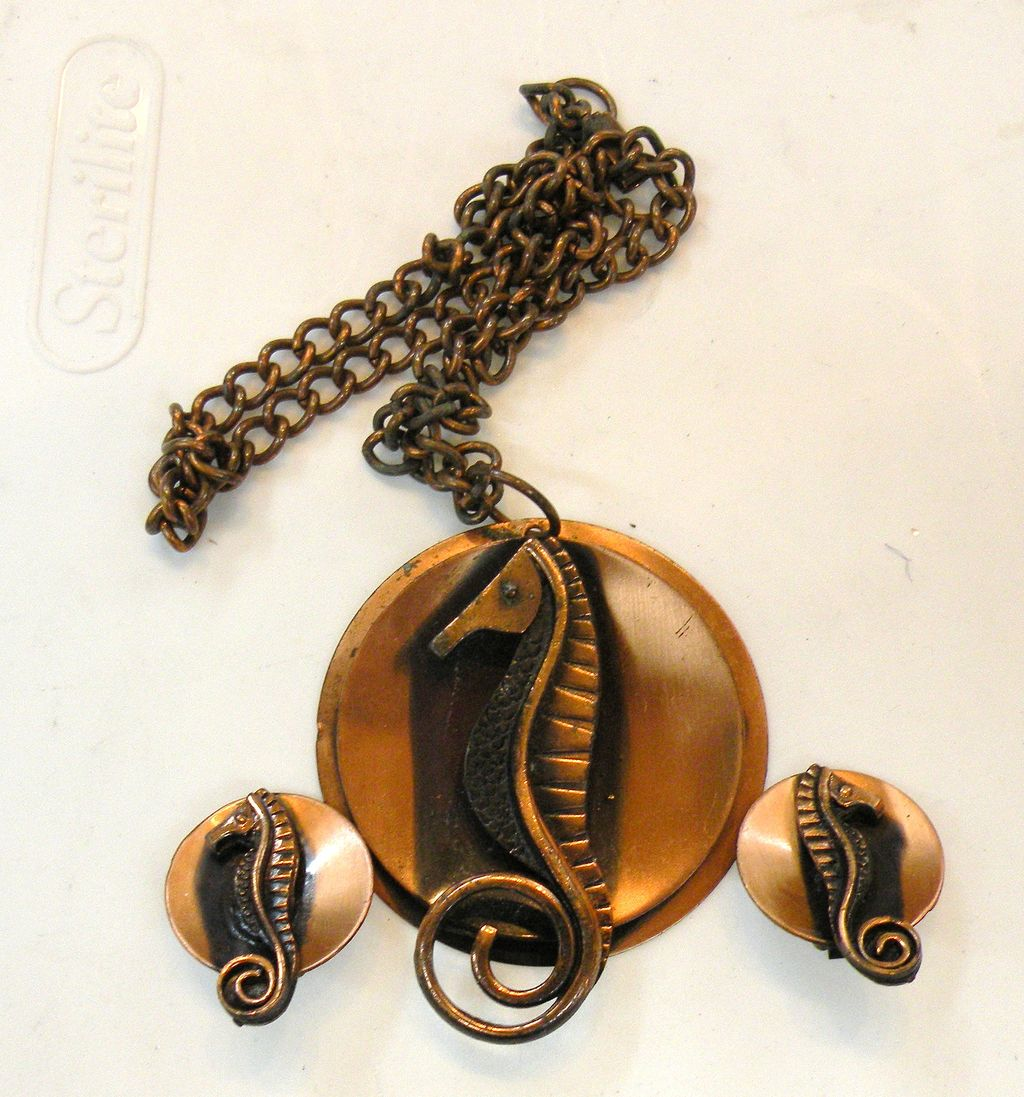 Copper Seahorse Necklace and Earrings Demi Parure