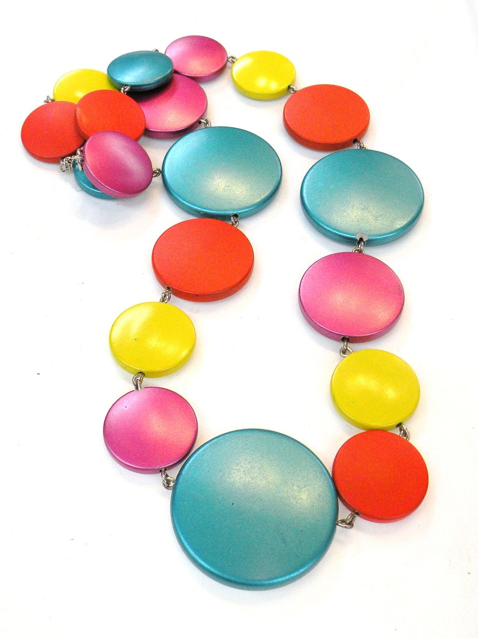 Iridescent Multi Color Chiclet Necklace