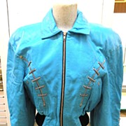 NORTH BEACH LEATHER 1980s Vintage Butter Soft Turquoise Leather Bomber Jacket by Michael Hoban-M
