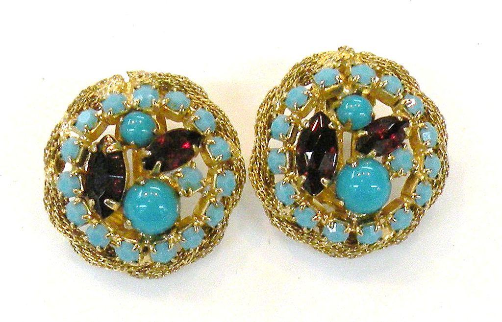 HATTIE CARNEGIE Turq and Deep Siam Red Rhinestone Prong Set Earrings
