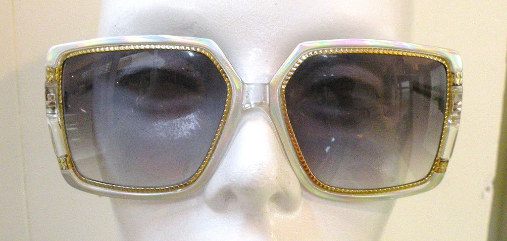 TED LAPIDUS Oversize Silvery Metallic and Clear Eyeglass Frames