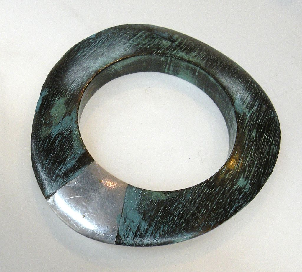 Funky Teal and Black Wood and Silver Tone Bangle Bracelet