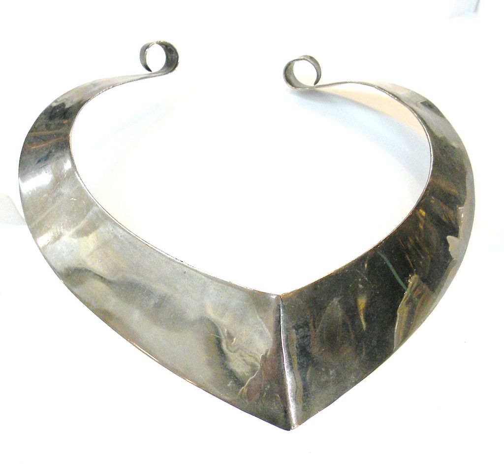 Modernist Sculptural Silver-tone Metal Barbarella Collar Necklace
