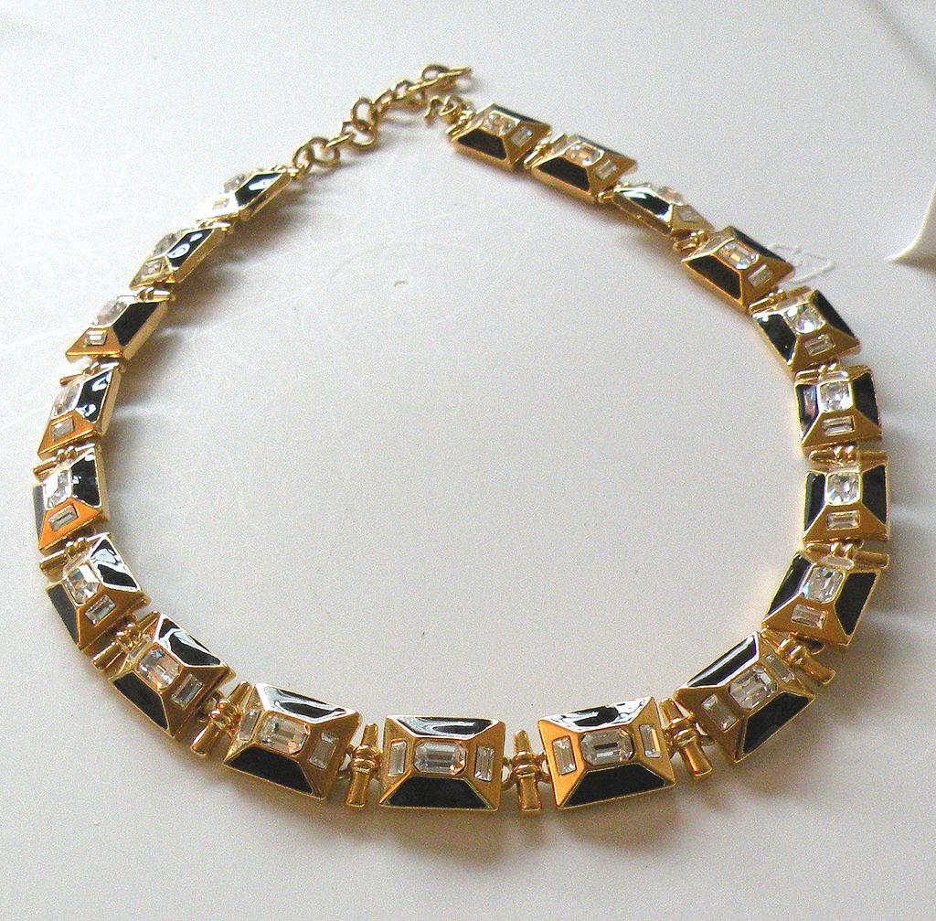 MONET Magnificent Movie Star Rhinestone and Enamel Choker Necklace