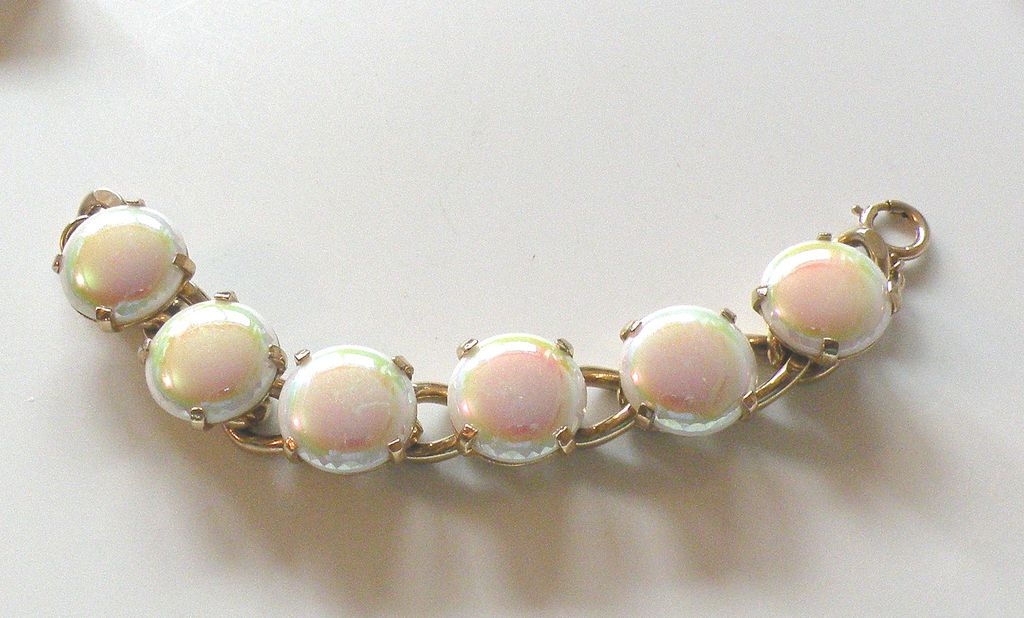Iridescent European White to Pink Glass Cabochon Link Bracelet