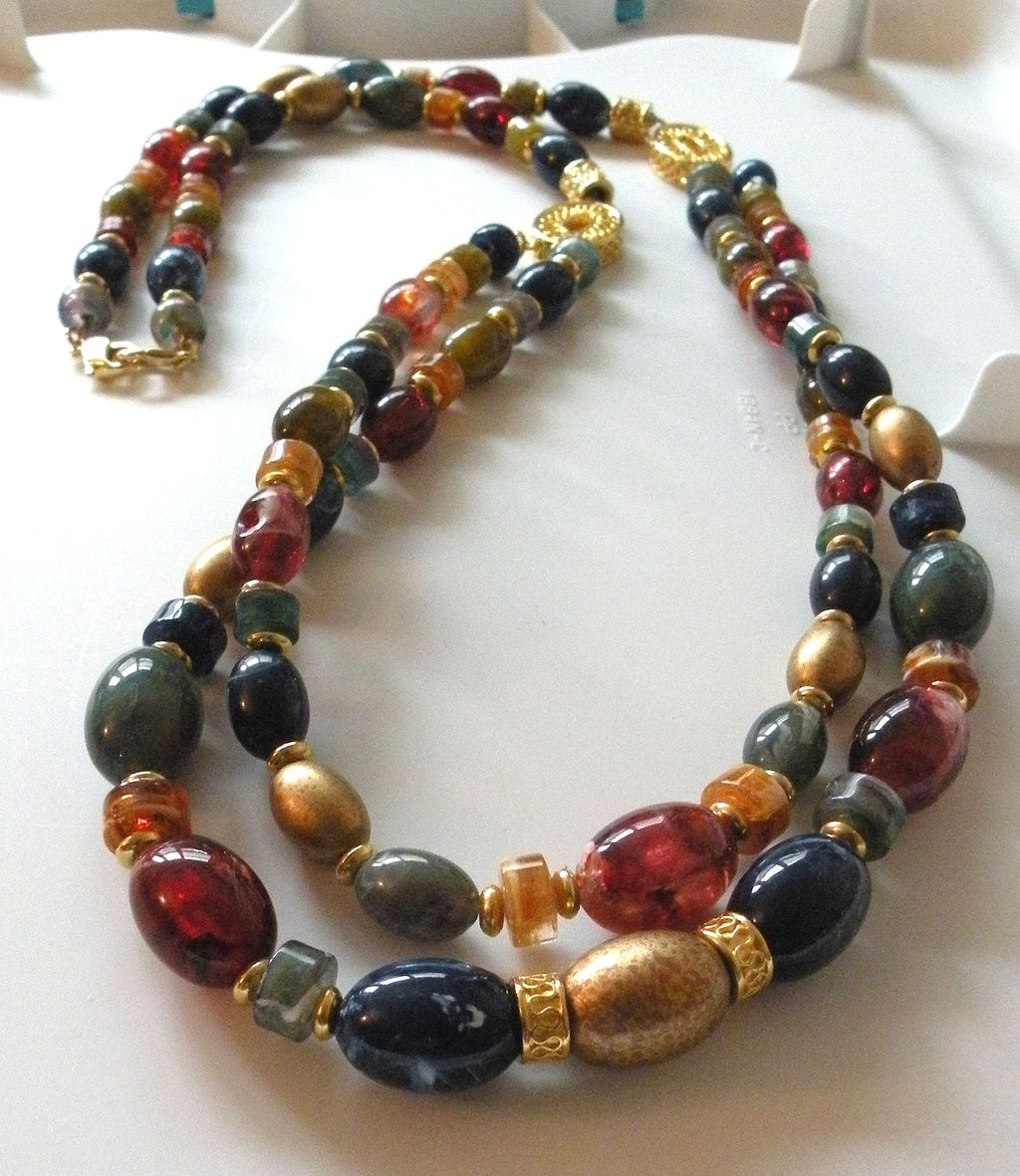 Richly Colored Beaded Double Strand Long Necklace
