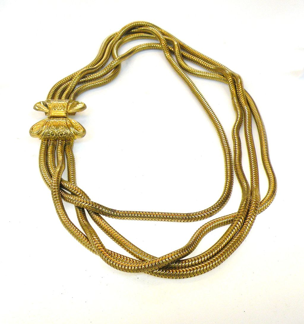 1930s Four Strand Gas-pipe Necklace with Bow Clasp Closure