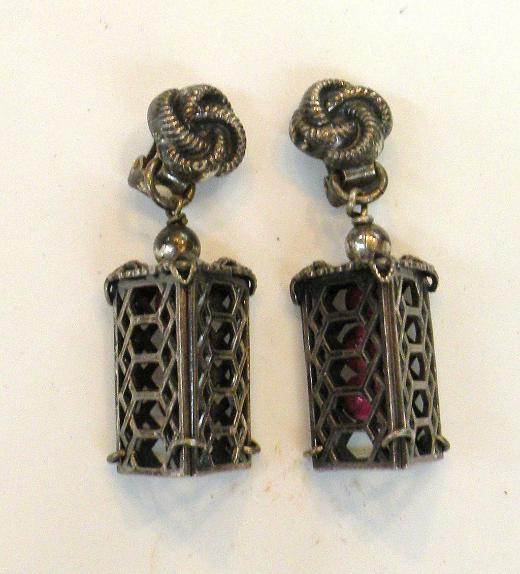NAPIER Patent Pending Pewter Color Cage Earrings with Raspberry Beads