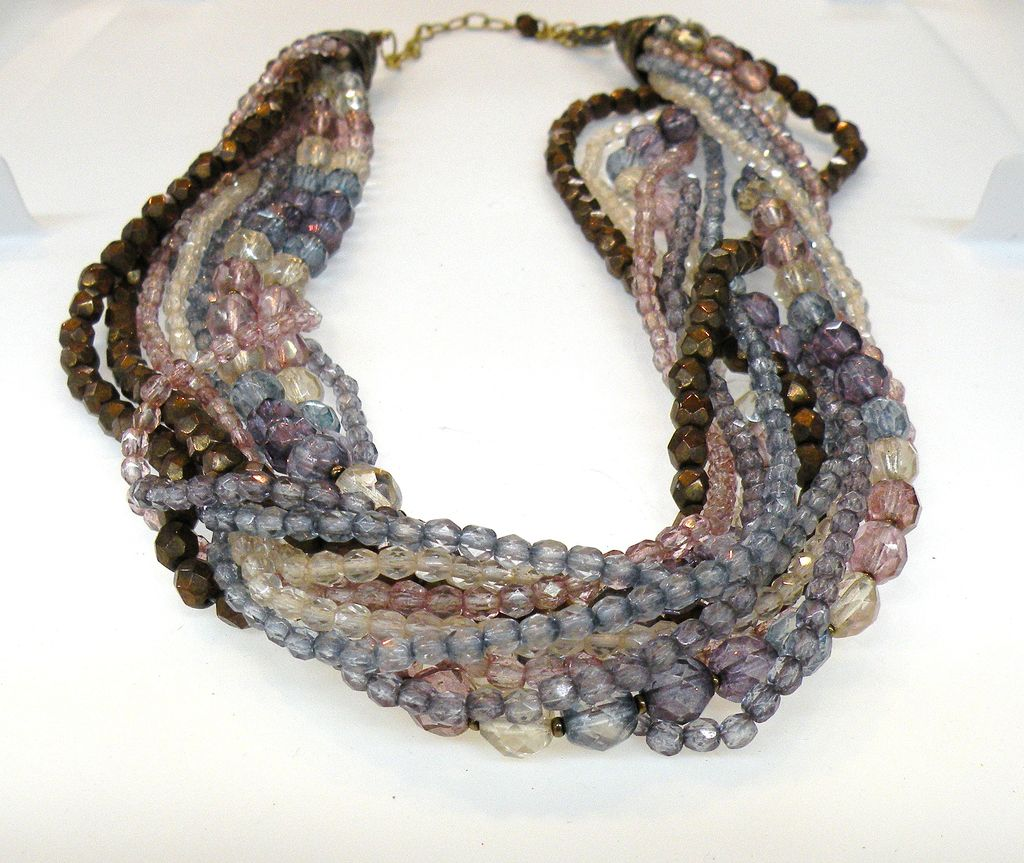 Shades of Purple and Lavender Glass Bead Torsade Necklace